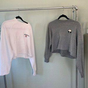 Brandy cropped sweatshirts white grey